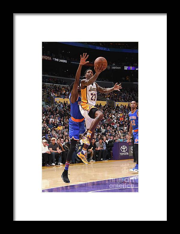 Nba Pro Basketball Framed Print featuring the photograph New York Knicks V Los Angeles Lakers by Andrew D. Bernstein