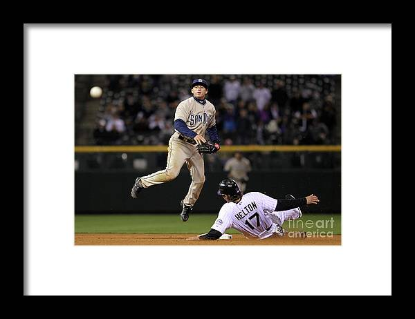 Double Play Framed Print featuring the photograph San Diego Padres V Colorado Rockies by Doug Pensinger