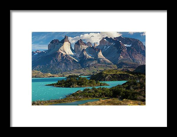 Scenics Framed Print featuring the photograph Chile, Torres Del Paine National Park by Walter Bibikow