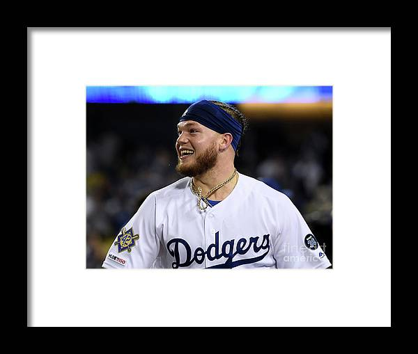 People Framed Print featuring the photograph Cincinnati Reds V Los Angeles Dodgers 7 by Harry How