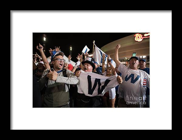 Celebration Framed Print featuring the photograph Cleveland Indians Fans Gather To The by Justin Merriman