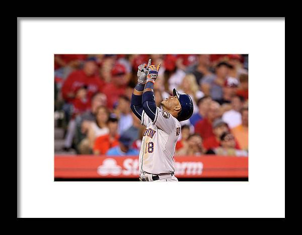 People Framed Print featuring the photograph Houston Astros V Los Angeles Angels Of 7 by Stephen Dunn