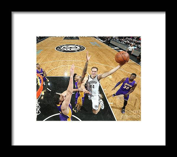 Nba Pro Basketball Framed Print featuring the photograph Los Angeles Lakers V Brooklyn Nets by Nathaniel S. Butler