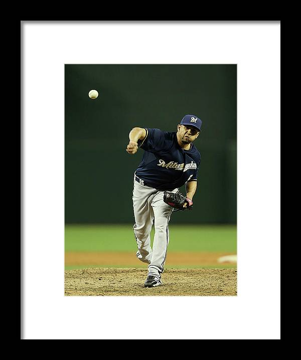 Relief Pitcher Framed Print featuring the photograph Milwaukee Brewers V Arizona Diamondbacks by Christian Petersen
