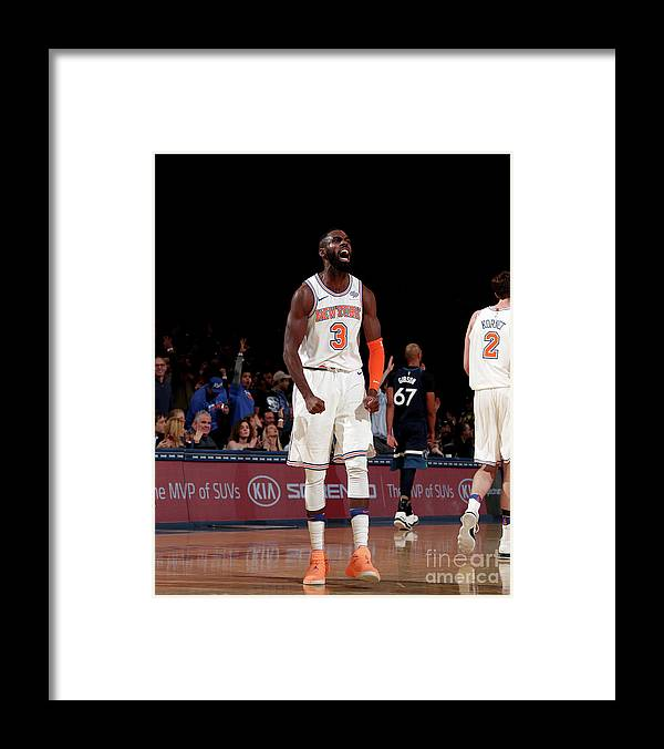 Tim Hardaway Jr. Framed Print featuring the photograph Minnesota Timberwolves V New York Knicks by Nathaniel S. Butler
