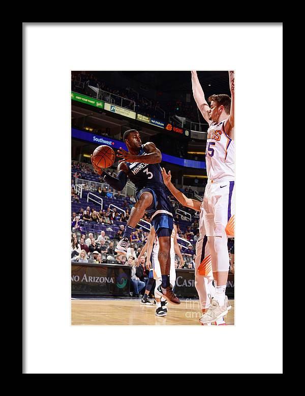 Nba Pro Basketball Framed Print featuring the photograph Minnesota Timberwolves V Phoenix Suns by Barry Gossage