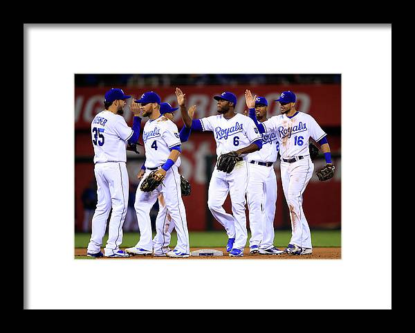 American League Baseball Framed Print featuring the photograph Minnesota Twins V Kansas City Royals by Jamie Squire