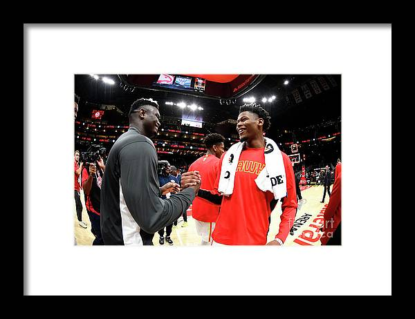 Atlanta Framed Print featuring the photograph New Orleans Pelicans V Atlanta Hawks by Scott Cunningham