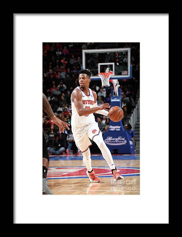 Nba Pro Basketball Framed Print featuring the photograph New York Knicks V Detroit Pistons by Chris Schwegler