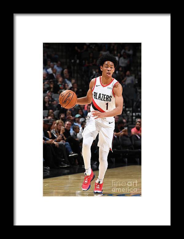Nba Pro Basketball Framed Print featuring the photograph Portland Trail Blazers V San Antonio by Garrett Ellwood