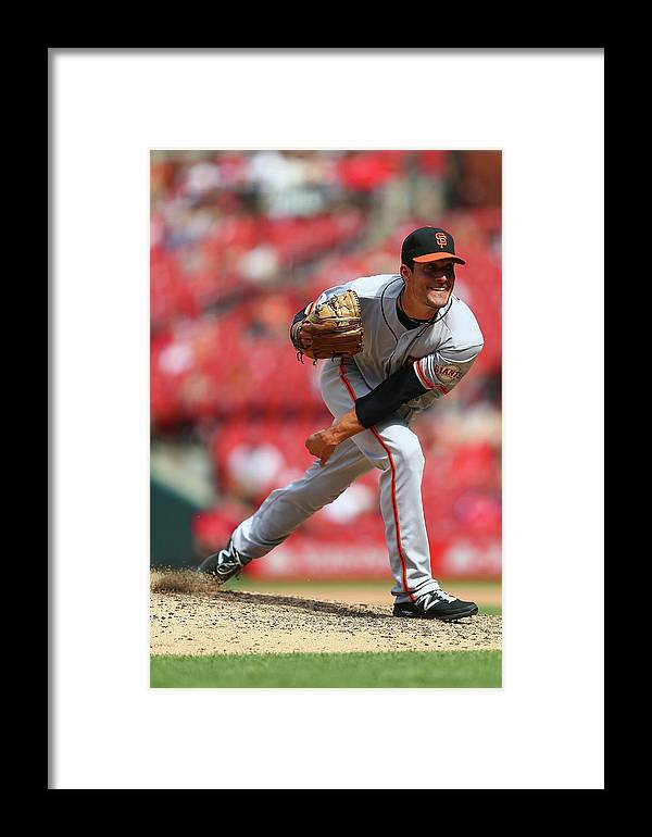 Javier López Framed Print featuring the photograph San Francisco Giants V St. Louis by Dilip Vishwanat