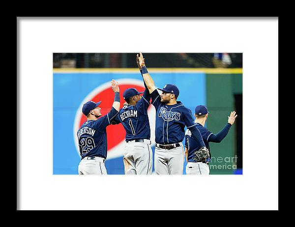 Three Quarter Length Framed Print featuring the photograph Tampa Bay Rays V Cleveland Indians by Jason Miller
