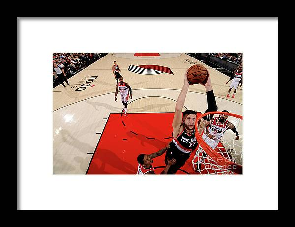Jusuf Nurkić Framed Print featuring the photograph Washington Wizards V Portland Trail by Cameron Browne