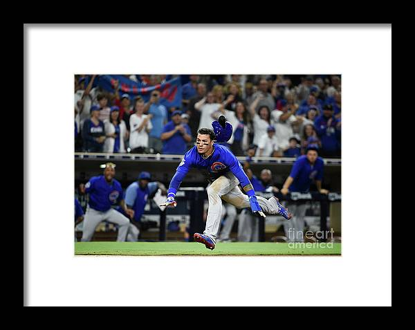 People Framed Print featuring the photograph Chicago Cubs V San Diego Padres by Denis Poroy