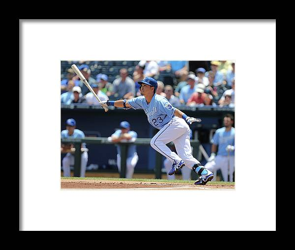 American League Baseball Framed Print featuring the photograph Cleveland Indians V Kansas City Royals by Ed Zurga