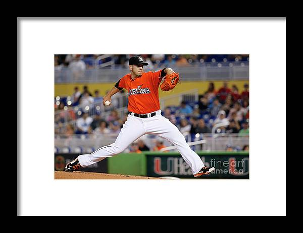 People Framed Print featuring the photograph Los Angeles Dodgers V Miami Marlins by Rob Foldy