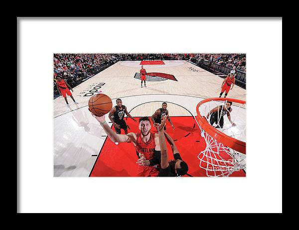 Jusuf Nurkić Framed Print featuring the photograph Milwaukee Bucks V Portland Trail Blazers by Sam Forencich