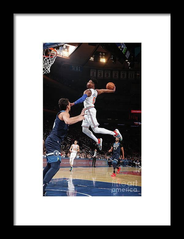 Nba Pro Basketball Framed Print featuring the photograph Minnesota Timberwolves V New York Knicks by Nathaniel S. Butler