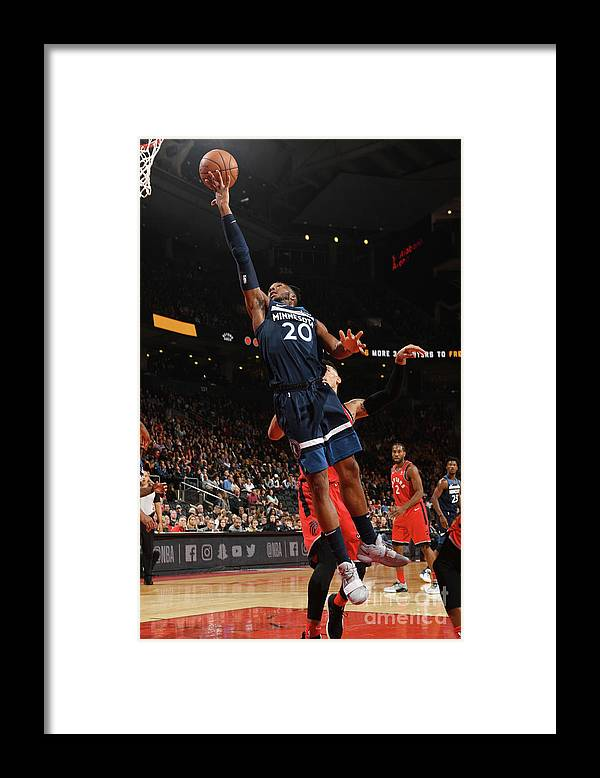 Nba Pro Basketball Framed Print featuring the photograph Minnesota Timberwolves V Toronto Raptors by Ron Turenne