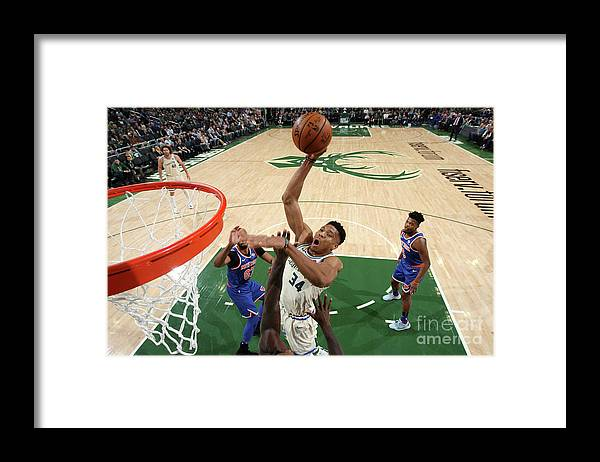 Nba Pro Basketball Framed Print featuring the photograph New York Knicks V Milwaukee Bucks by Gary Dineen