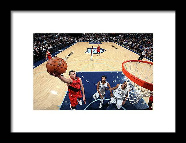Sports Ball Framed Print featuring the photograph Portland Trail Blazers V Memphis by Joe Murphy