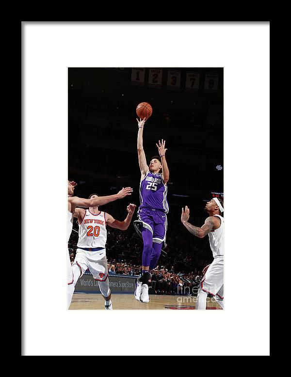 Nba Pro Basketball Framed Print featuring the photograph Sacramento Kings V New York Knicks by Nathaniel S. Butler