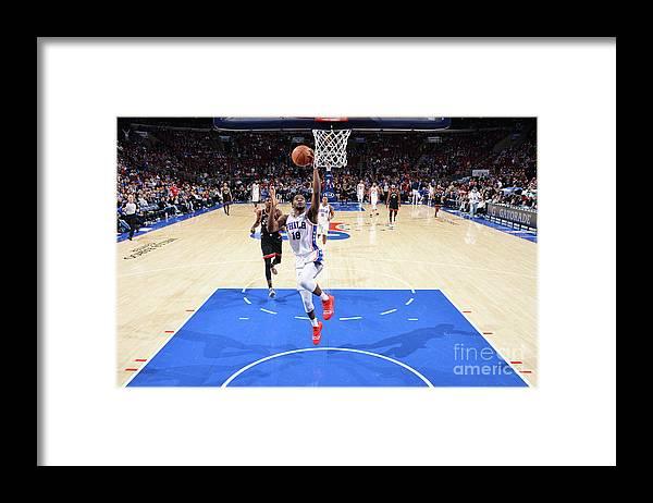 Nba Pro Basketball Framed Print featuring the photograph Toronto Raptors V Philadelphia 76ers by Jesse D. Garrabrant