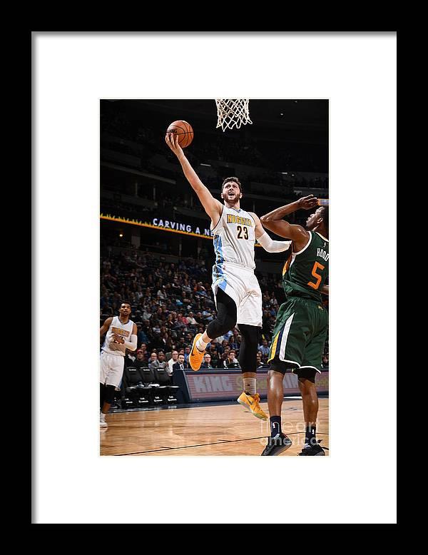Jusuf Nurkić Framed Print featuring the photograph Utah Jazz V Denver Nuggets by Garrett Ellwood