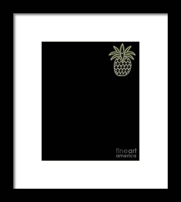 80s-pineapple Framed Print featuring the drawing 80s Retro Neon Sign Aloha Pineapple by The Perfect Presents