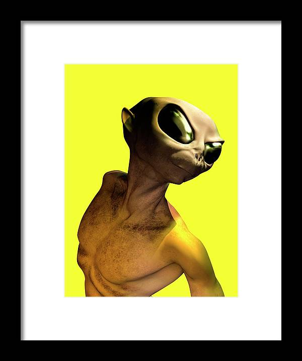 Looking Over Shoulder Framed Print featuring the digital art Alien, Artwork by Victor Habbick Visions