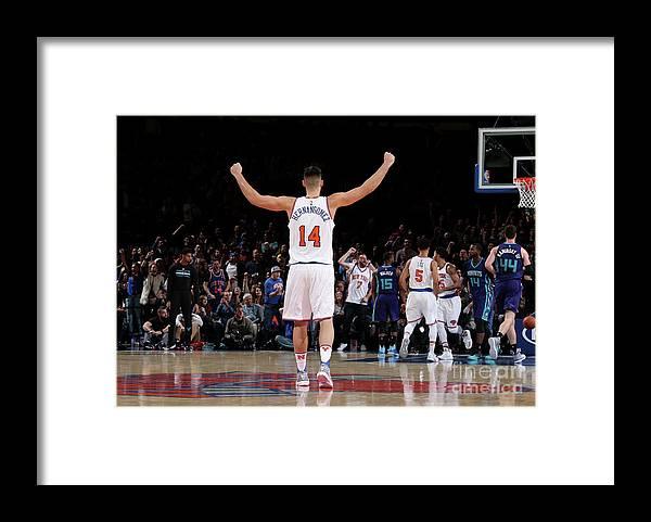 Guillermo Hernangómez Geuer Framed Print featuring the photograph Charlotte Hornets V New York Knicks by Nathaniel S. Butler