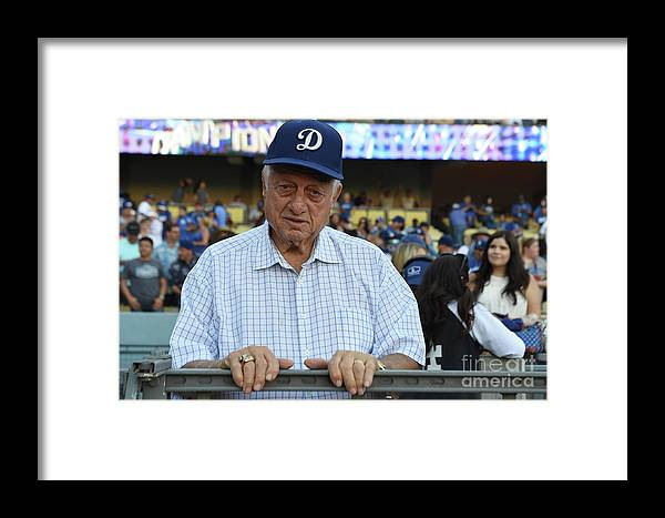 People Framed Print featuring the photograph Colorado Rockies V Los Angeles Dodgers by Lisa Blumenfeld