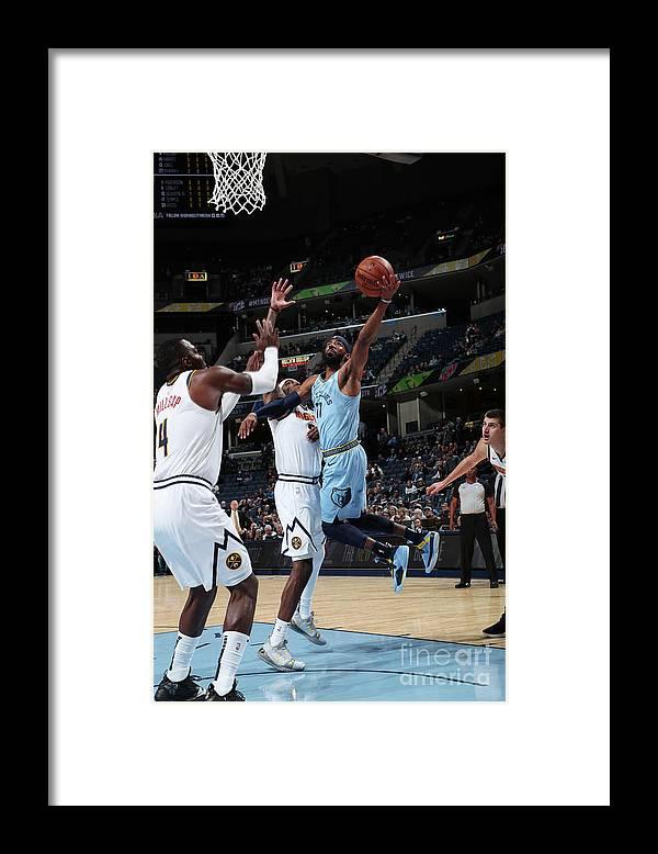 Nba Pro Basketball Framed Print featuring the photograph Denver Nuggets V Memphis Grizzlies by Joe Murphy