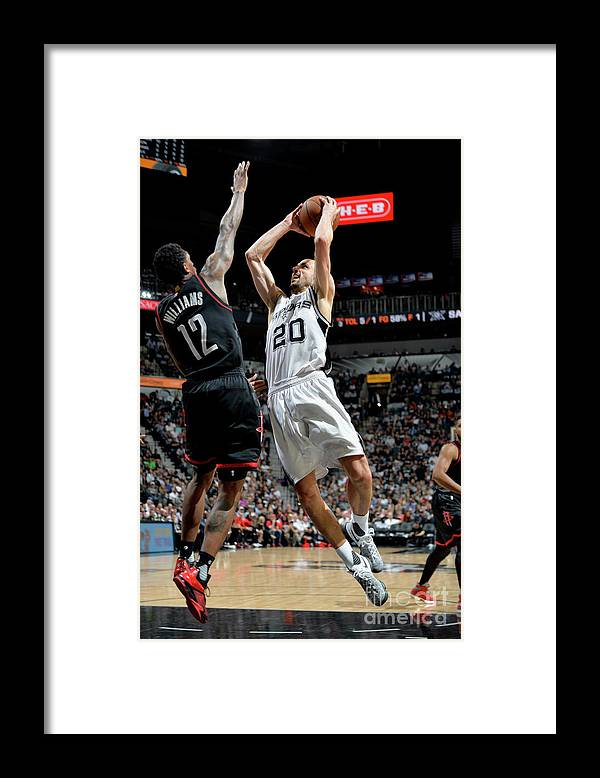 Game Two Framed Print featuring the photograph Houston Rockets V San Antonio Spurs - by Mark Sobhani