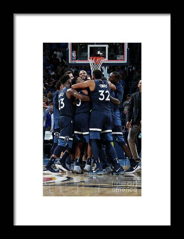 Nba Pro Basketball Framed Print featuring the photograph Minnesota Timberwolves V Oklahoma City by Layne Murdoch