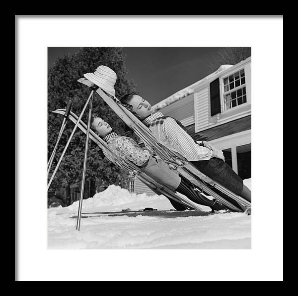 People Framed Print featuring the photograph New England Skiing by Slim Aarons