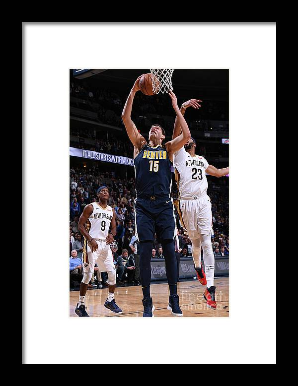 Nba Pro Basketball Framed Print featuring the photograph New Orleans Pelicans V Denver Nuggets by Garrett Ellwood