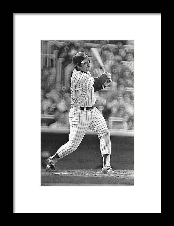 Thurman Munson Framed Print featuring the photograph New York Yankees by Ronald C. Modra/sports Imagery