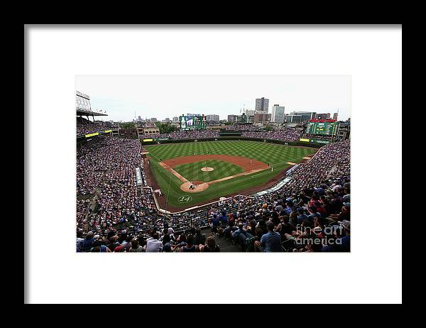American League Baseball Framed Print featuring the photograph Philadelphia Phillies V Chicago Cubs by Jonathan Daniel
