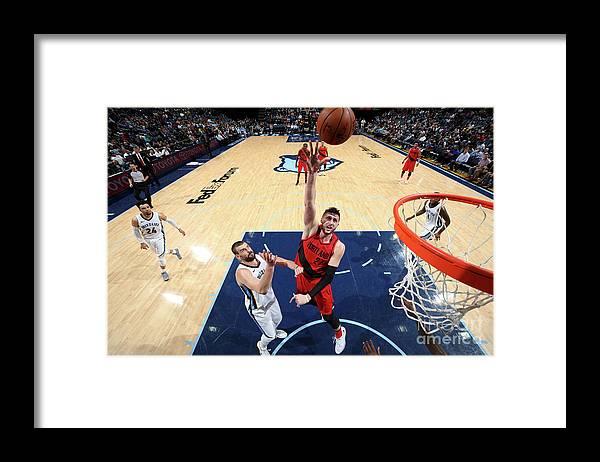 Jusuf Nurkić Framed Print featuring the photograph Portland Trail Blazers V Memphis by Joe Murphy