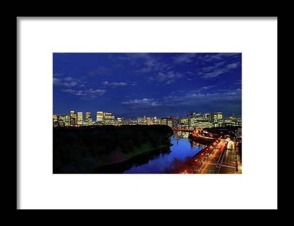 Two Lane Highway Framed Print featuring the photograph Tokyo Downtown Cityscape by Vladimir Zakharov