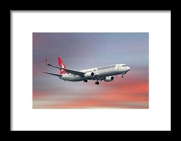 Turkish Framed Print featuring the mixed media Turkish Airlines Boeing 737-9f2 by Smart Aviation