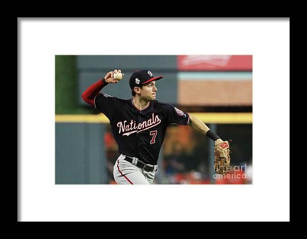 American League Baseball Framed Print featuring the photograph World Series - Washington Nationals V 9 by Mike Ehrmann
