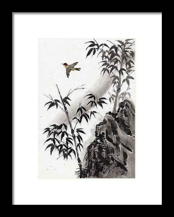 Scenics Framed Print featuring the digital art A Bird And Bamboo Leaves, Ink Painting by Daj