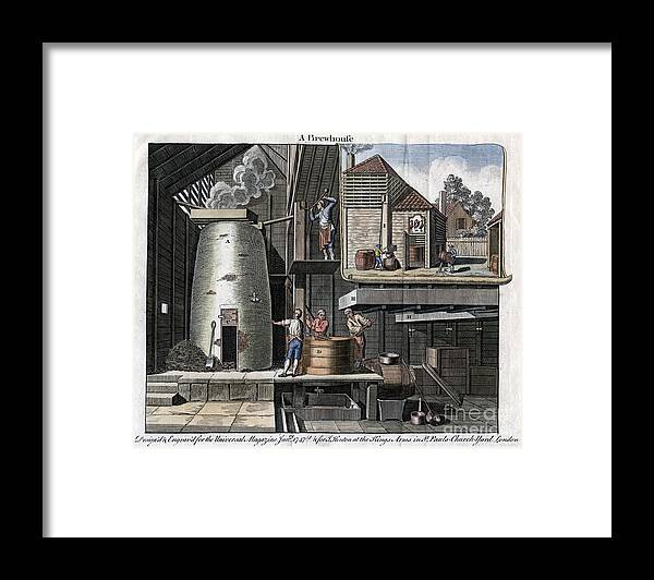 Rubbing Alcohol Framed Print featuring the drawing A Brewhouse, 1747 by Print Collector