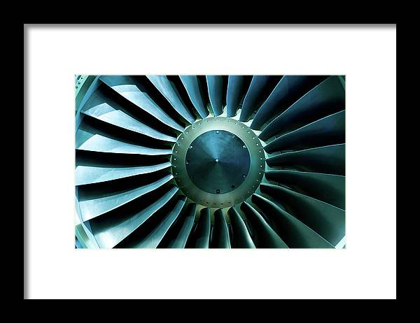 Material Framed Print featuring the photograph A Close Of Up A Turbine Showing The by Brasil2
