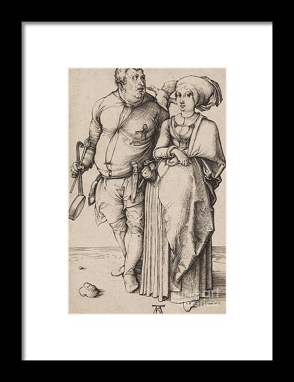 A Cook And His Wife Framed Print featuring the drawing A Cook And His Wife by Albrecht Durer