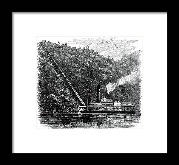 Engraving Framed Print featuring the drawing A Cotton Chute, United States, C1880 by Print Collector