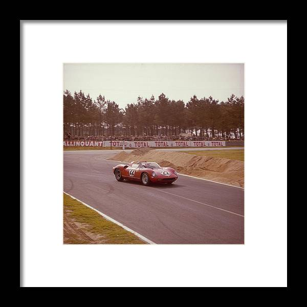 People Framed Print featuring the photograph A Ferrari 250 P At Le Mans, France by Heritage Images