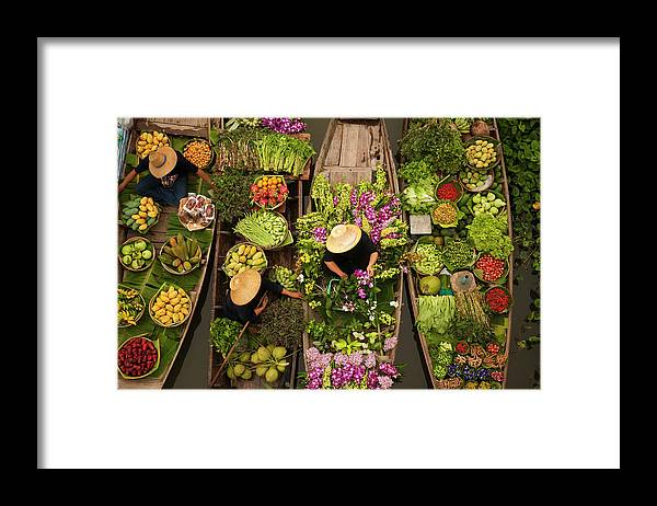 People Framed Print featuring the photograph A Floating Market On A Canal In by Mint Images - Art Wolfe